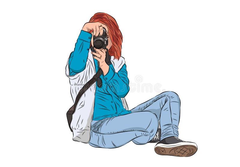 Lokalisierter Fotograf der jungen Frau, der Fotos unter Verwendung ihres digita macht stock abbildung