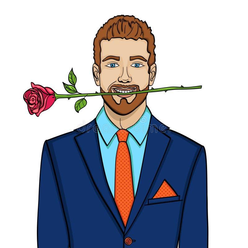 Lokalisierter Gegenstand auf weißem Hintergrundmann, Geschäftsmann mit einer Rose in seinen Zähnen Nachgemachte komische Art, Vek vektor abbildung