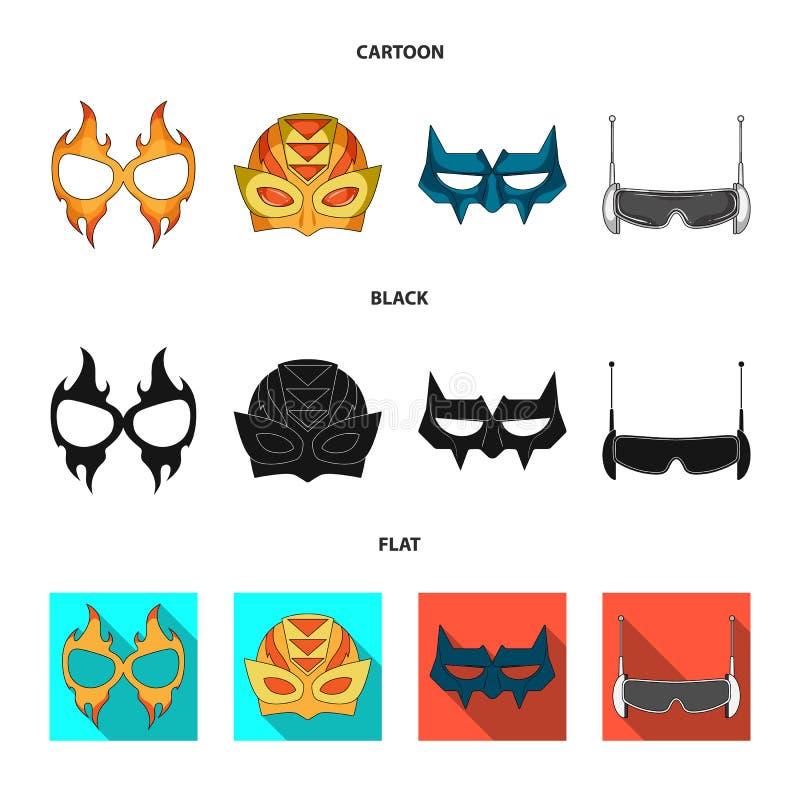 Lokalisierter Gegenstand der Held- und Maskenikone Sammlung der Held- und Superheldvektorikone für Vorrat lizenzfreie abbildung