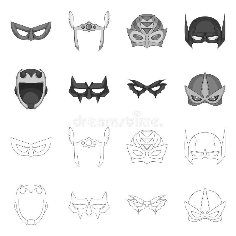 Lokalisierter Gegenstand der Held- und Maskenikone Satz des Held- und Superheldaktiensymbols für Netz lizenzfreie abbildung