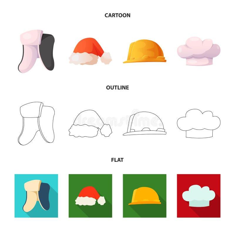 Lokalisierter Gegenstand der Kopfbedeckungs- und Kappenikone Satz der Kopfbedeckungs- und Zusatzvektorikone für Vorrat stock abbildung