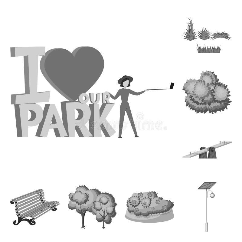 Lokalisierter Gegenstand der Park- und Stadtikone Stellen Sie von der Park- und Stra?envorratvektorillustration ein lizenzfreie abbildung