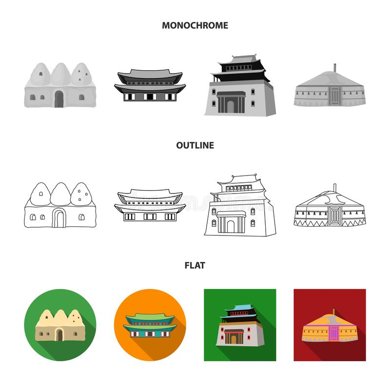Lokalisierter Gegenstand der Stadt- und Chinatown-Ikone Sammlung der Stadt und des asiatischen Aktiensymbols für Netz stock abbildung