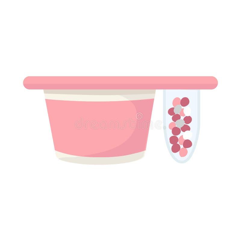 Lokalisierter Gegenstand der Verpackungs- und Jogurtikone Stellen Sie von der Verpackung und vom knusperigen Aktiensymbol für Net vektor abbildung