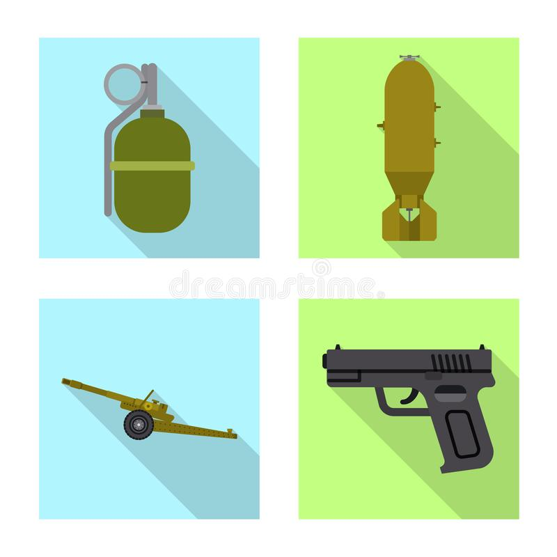 Lokalisierter Gegenstand der Waffen- und Gewehrikone Sammlung der Waffen- und Armeevektorikone f?r Vorrat vektor abbildung