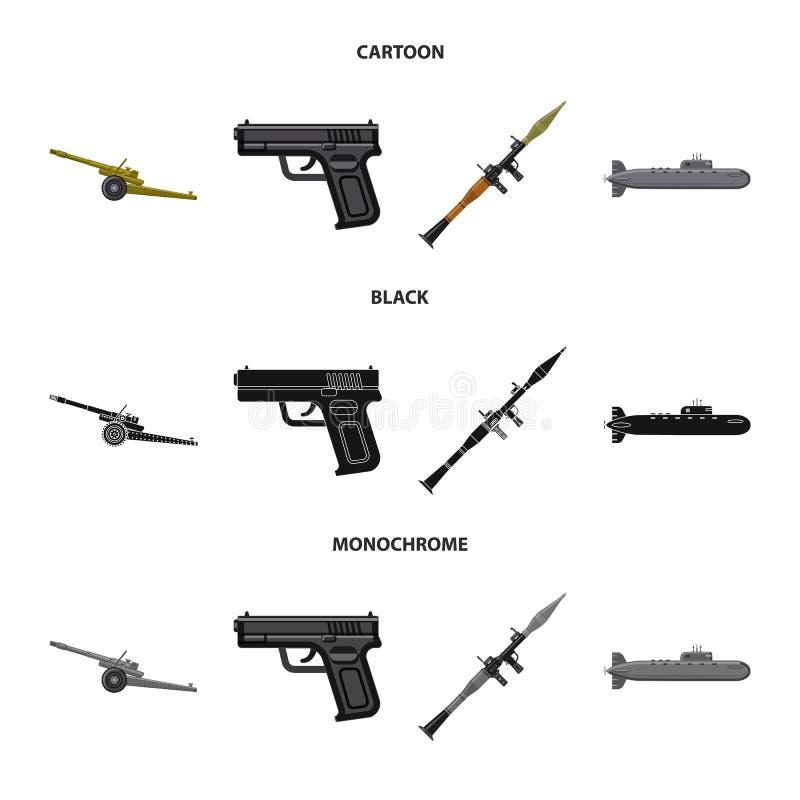 Lokalisierter Gegenstand der Waffen- und Gewehrikone Sammlung des Waffen- und Armeeaktiensymbols f?r Netz vektor abbildung
