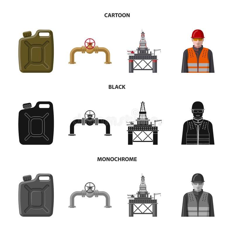 Lokalisierter Gegenstand des Öl- und Gaszeichens Satz der Öl- und Treibstoffvektorikone für Vorrat stock abbildung