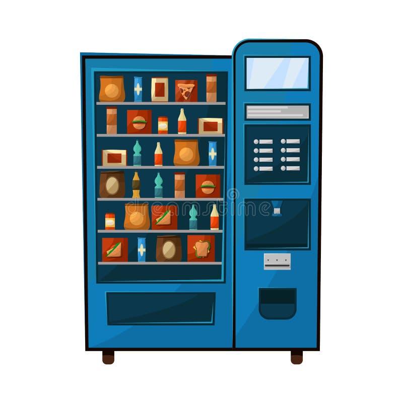 Lokalisierter Gegenstand des Automaten und der verkaufen Ikone Sammlung der Automat- und Nahrungsmittelvorratvektorillustration stock abbildung