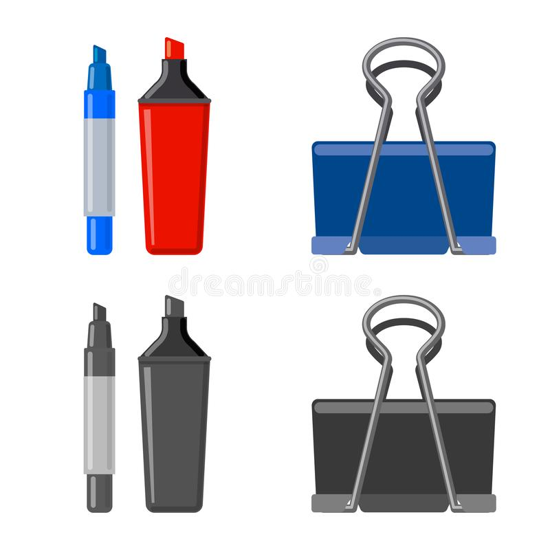 Lokalisierter Gegenstand des Büro- und Versorgungssymbols Satz Vektorillustration des Büros und der Schule der auf Lager stock abbildung