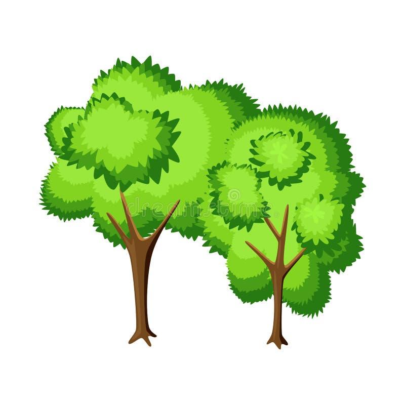 Lokalisierter Gegenstand des Baums und des laubwechselnden Zeichens Stellen Sie vom Baum und von der gr?nen Vektorillustration au vektor abbildung