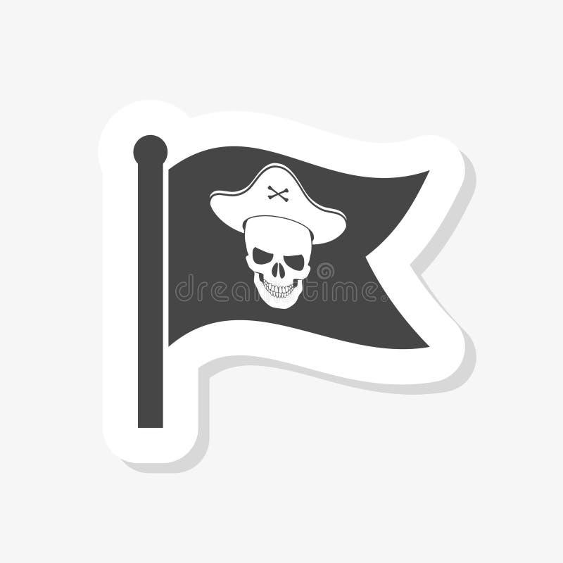 Lokalisierter Gegenstand des Flaggen- und Piratenlogoaufklebers stock abbildung