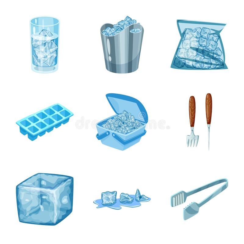 Lokalisierter Gegenstand des Frosts und des Wassersymbols Sammlung des Frosts und des nass Aktiensymbols f?r Netz stock abbildung