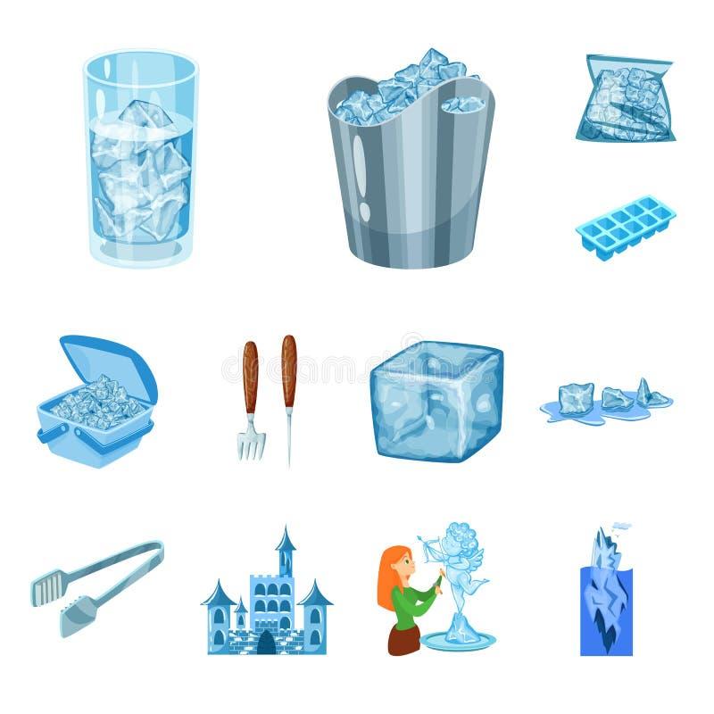 Lokalisierter Gegenstand des Frosts und des Wasserzeichens Stellen Sie vom Frost und vom nass Aktiensymbol f?r Netz ein stock abbildung