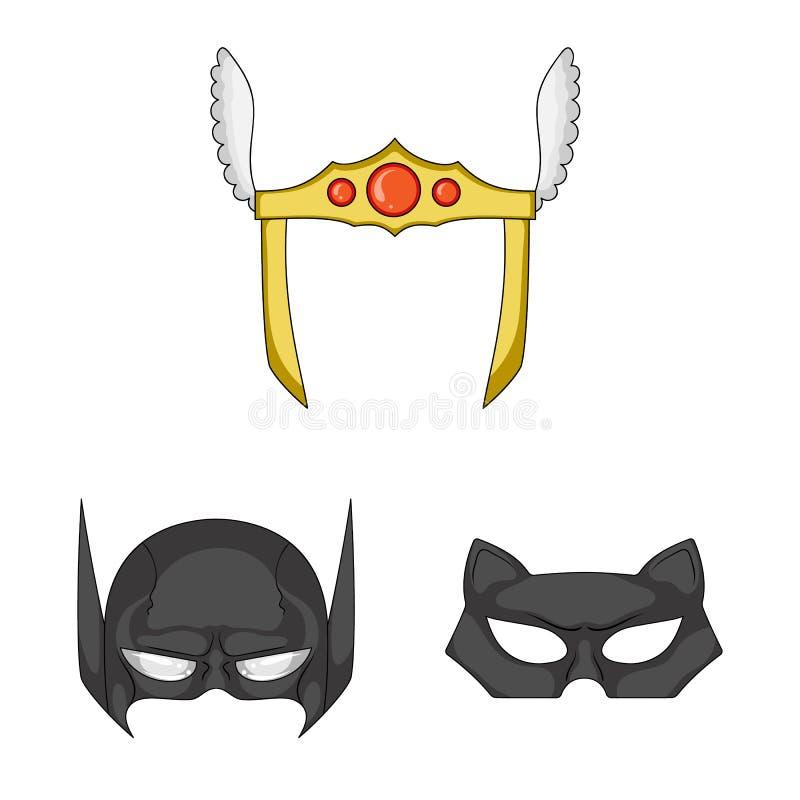 Lokalisierter Gegenstand des Held- und Maskensymbols Sammlung des Held- und Superheldaktiensymbols für Netz lizenzfreie abbildung