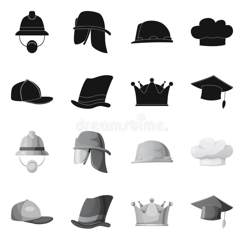 Lokalisierter Gegenstand des Kopfbedeckungs- und Kappenlogos Satz des Kopfbedeckungs- und Zusatzaktiensymbols für Netz lizenzfreie abbildung