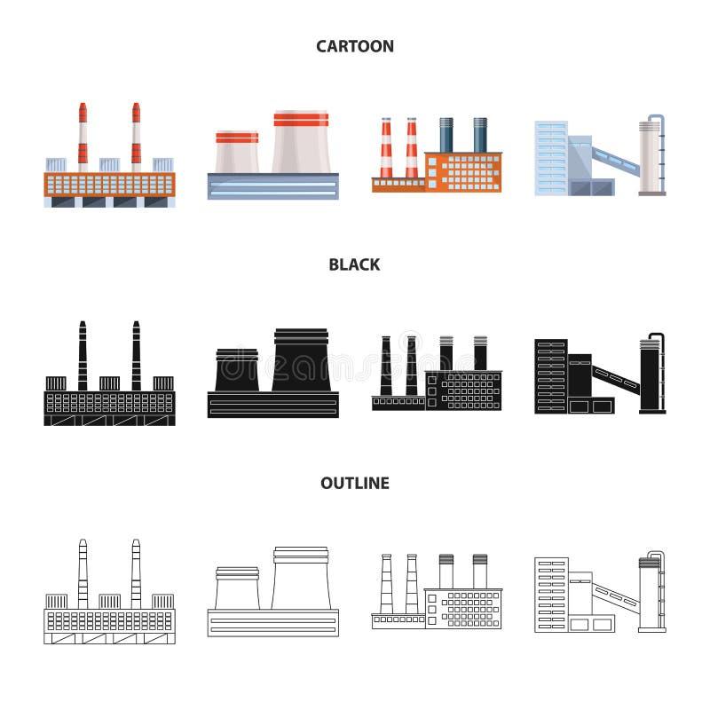 Lokalisierter Gegenstand des Produktions- und Strukturlogos Sammlung der Produktion und der Technologieaktievektorillustration lizenzfreie abbildung