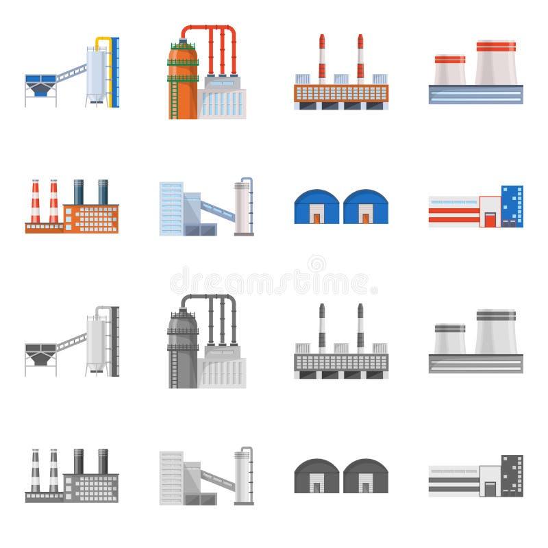 Lokalisierter Gegenstand des Produktions- und Strukturlogos Stellen Sie von der Produktion und von der Technologieaktievektorillu stock abbildung