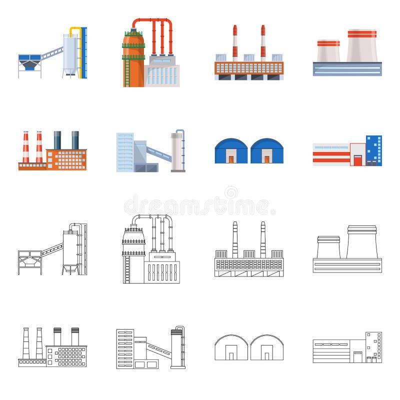 Lokalisierter Gegenstand des Produktions- und Strukturzeichens Stellen Sie von der Produktion und von der Technologieaktievektori vektor abbildung