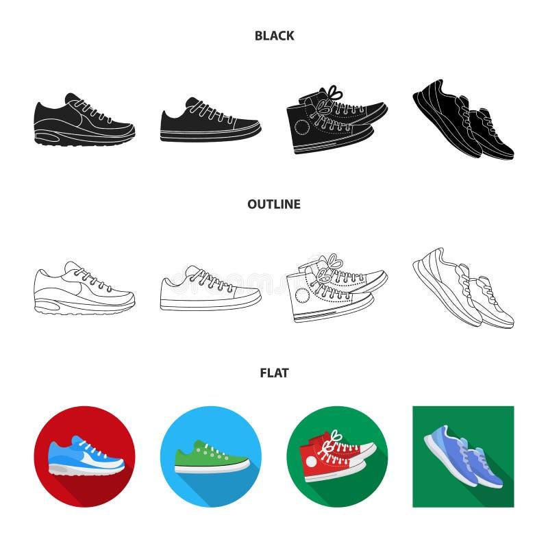 Lokalisierter Gegenstand des Schuhes und des Sportlogos Sammlung des Schuhes und des Eignungsaktiensymbols f?r Netz lizenzfreie abbildung