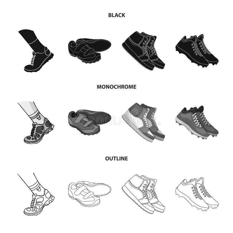 Lokalisierter Gegenstand des Schuhes und des Sportlogos Sammlung des Schuhes und des Eignungsaktiensymbols f?r Netz stock abbildung