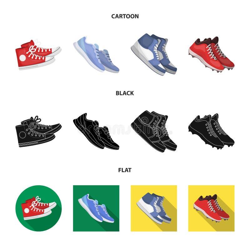 Lokalisierter Gegenstand des Schuhes und des Sportsymbols Sammlung des Schuhes und Eignungsvektorikone f?r Vorrat stock abbildung