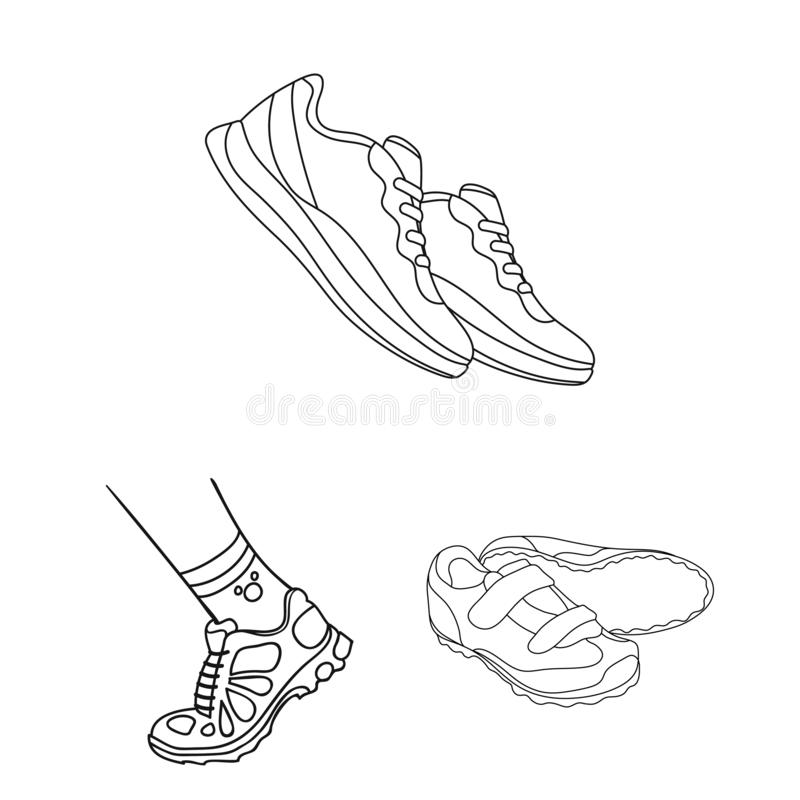 Lokalisierter Gegenstand des Schuhes und des Sportsymbols Stellen Sie vom Schuh und vom Eignungsaktiensymbol für Netz ein lizenzfreie abbildung