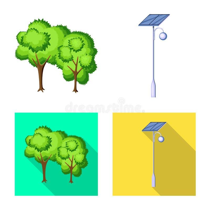 Lokalisierter Gegenstand des st?dtischem und Stra?ensymbols Stellen Sie von der st?dtischer und Entspannungsvektorikone f?r Vorra vektor abbildung
