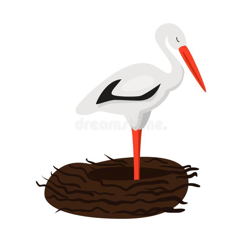 Lokalisierter Gegenstand des Storch- und Vogellogos Stellen Sie vom Storch und von fliegender Vektorillustration auf Lager ein lizenzfreie abbildung