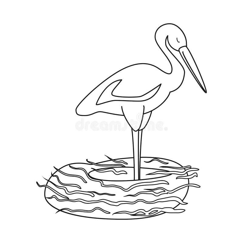 Lokalisierter Gegenstand des Storch- und Vogelsymbols Sammlung des Storchs und des fliegenden Aktiensymbols f?r Netz lizenzfreie abbildung