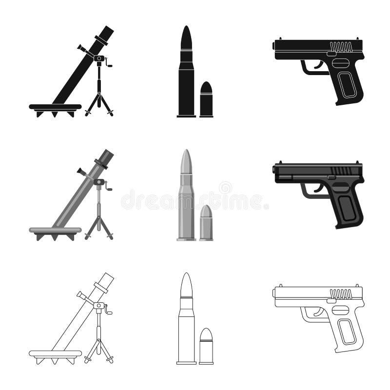 Lokalisierter Gegenstand des Waffen- und Gewehrlogos Sammlung des Waffen- und Armeeaktiensymbols f?r Netz vektor abbildung