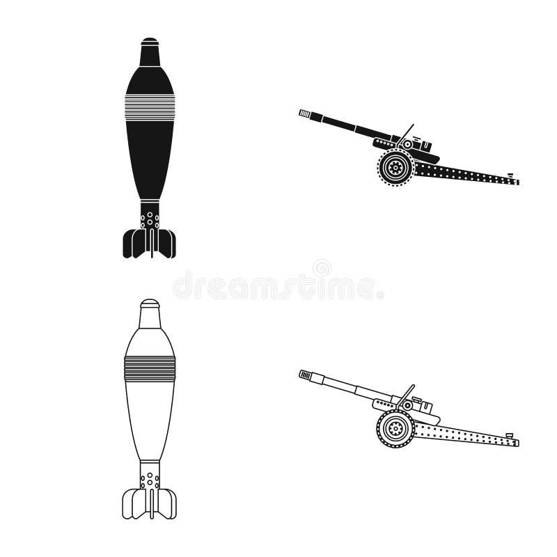 Lokalisierter Gegenstand des Waffen- und Gewehrlogos Sammlung Vektorillustration der Waffe und der Armee der auf Lager vektor abbildung