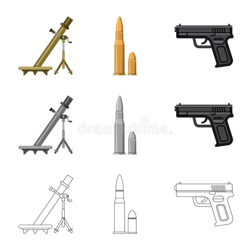 Lokalisierter Gegenstand des Waffen- und Gewehrlogos Satz des Waffen- und Armeeaktiensymbols f?r Netz vektor abbildung