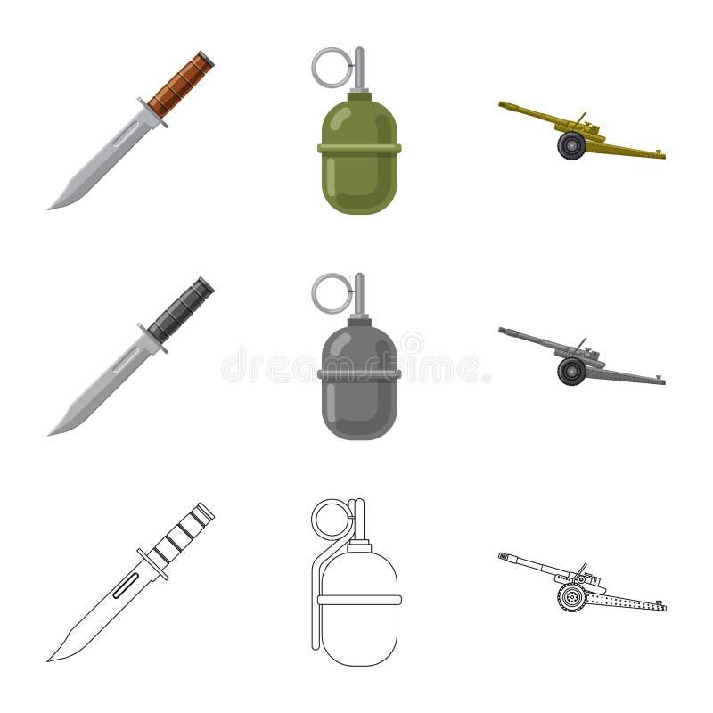 Lokalisierter Gegenstand des Waffen- und Gewehrlogos Satz der Waffen- und Armeevektorikone f?r Vorrat lizenzfreie abbildung