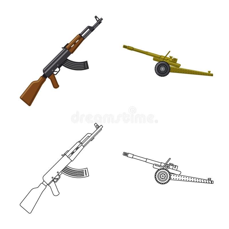 Lokalisierter Gegenstand des Waffen- und Gewehrsymbols Sammlung des Waffen- und Armeeaktiensymbols f?r Netz stock abbildung