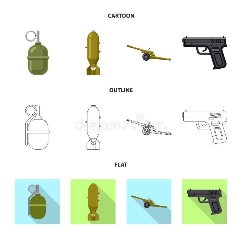 Lokalisierter Gegenstand des Waffen- und Gewehrsymbols Sammlung der Waffen- und Armeevektorikone für Vorrat vektor abbildung