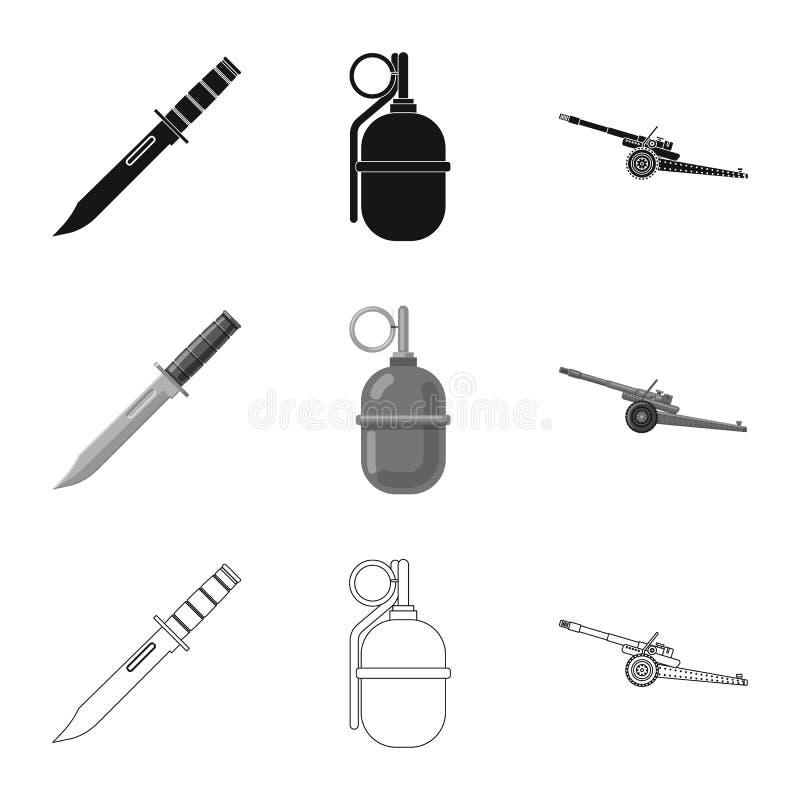 Lokalisierter Gegenstand des Waffen- und Gewehrsymbols Satz der Waffen- und Armeevektorikone f?r Vorrat lizenzfreie abbildung