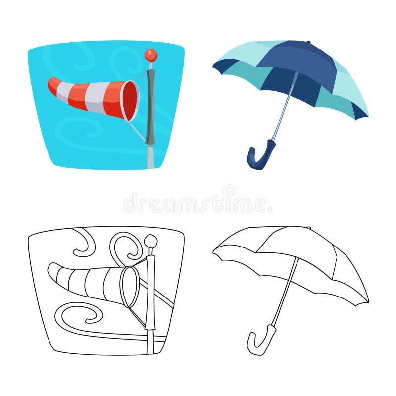 Lokalisierter Gegenstand des Wetter- und Klimasymbols Satz Vektorillustration des Wetters und der Wolke der auf Lager vektor abbildung