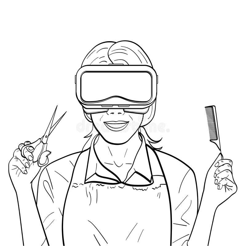 Lokalisierter Gegenstandfarbton, schwarze Linien, weißer Hintergrund Virtuelles Training, Kurse des Friseurs, Spiel des Stilisten stock abbildung
