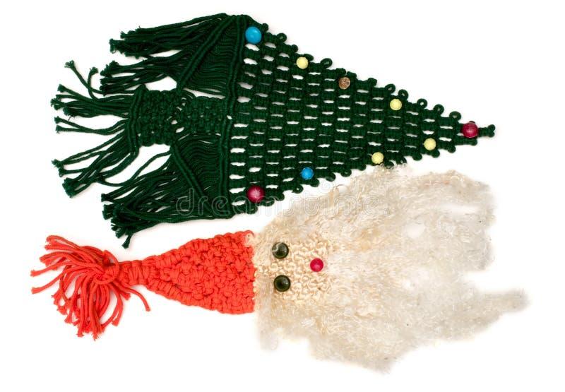 Lokalisierter gesponnener Santa Claus- und Weihnachtsbaum stockbild