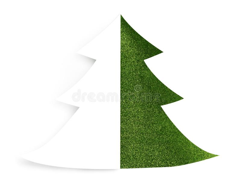 Lokalisierter grüner Sparkly Feiertags-Weihnachtsbaum-Entwurf lizenzfreie stockfotos