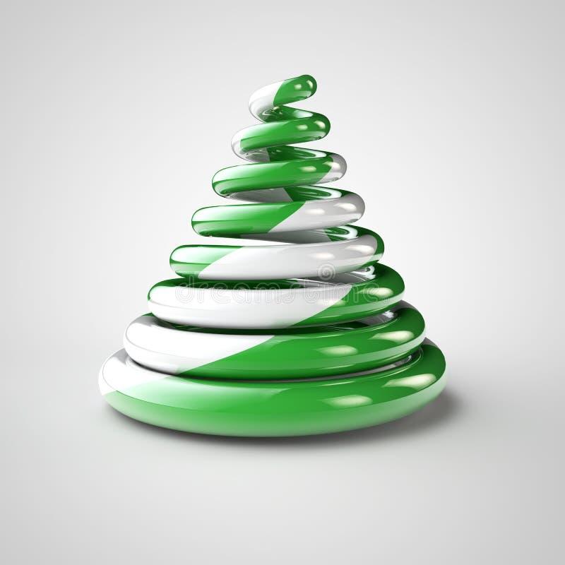 Lokalisierter grüner Weihnachtssüßigkeitsbaum Symbolischer Weihnachtsbaum gemacht von der grünen Zuckerstange Illustration der fr lizenzfreie abbildung