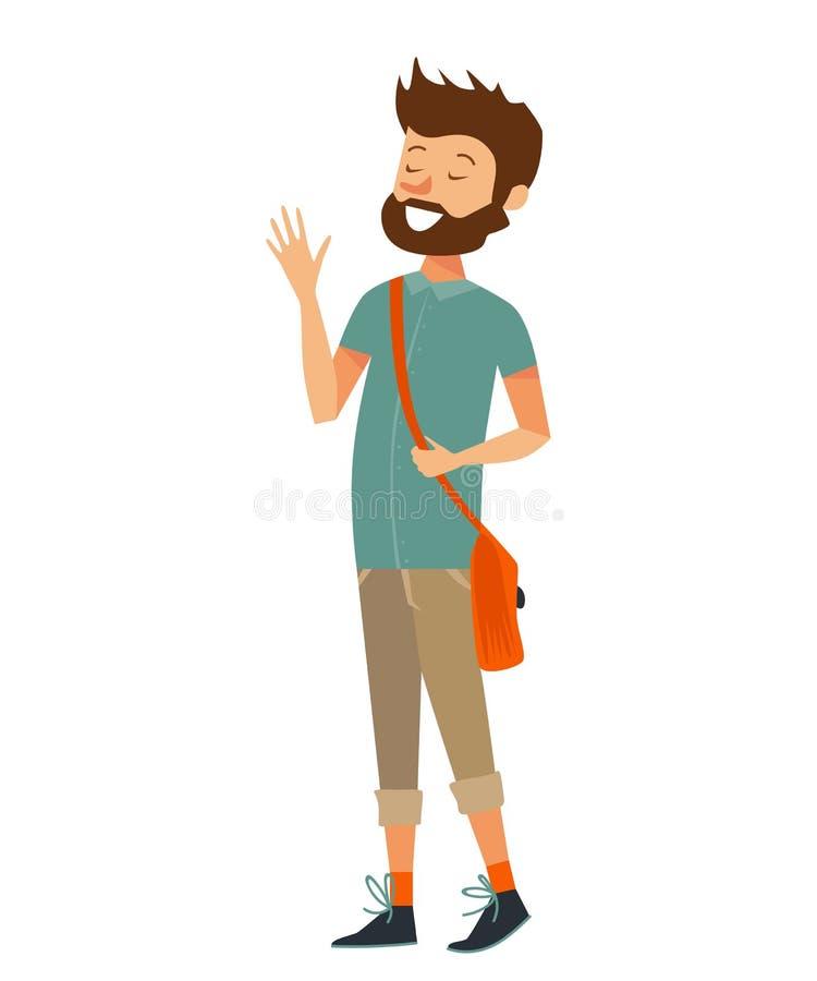 Lokalisierter kaukasischer Mann, der, einer Geschichte und einem Lachen sagend lächelt flache Hippie-Vektorillustration eines wei vektor abbildung