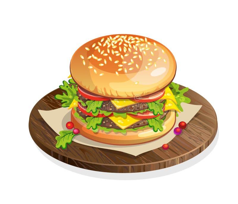 Lokalisierter klassischer Hamburger auf Platte vektor abbildung