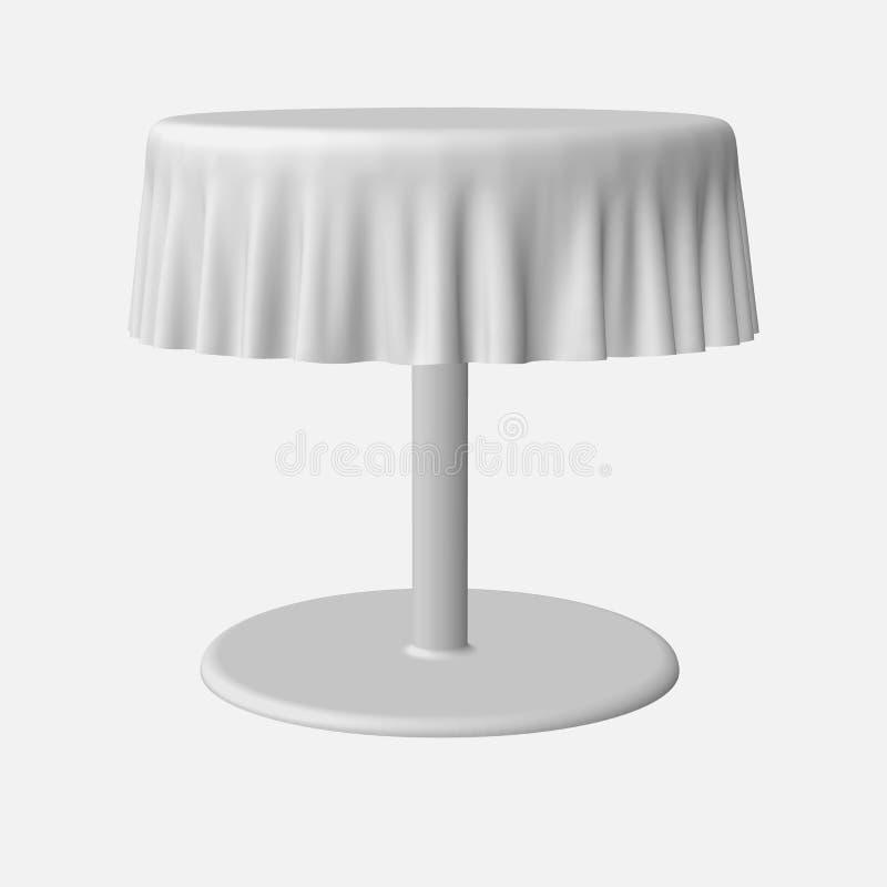 Lokalisierter leerer Rundtisch mit Tischdecke in der weißen Farbe für Design vektor abbildung
