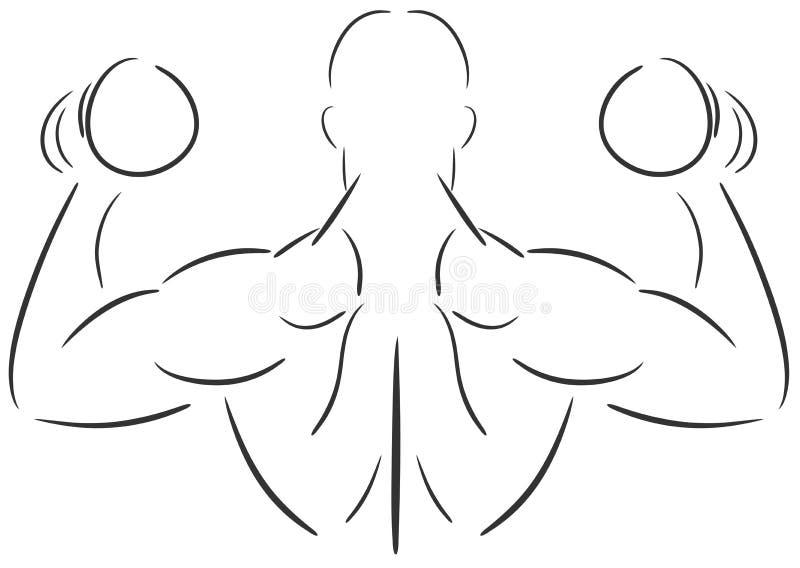 Lokalisierter Mann, der Gewichtheben tut vektor abbildung