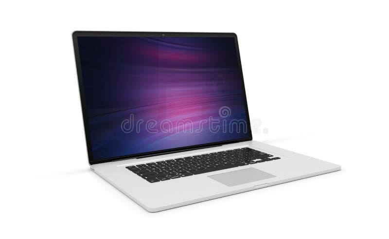 Lokalisierter moderner Laptop mit Wiedergabe der Seitenansicht 3d des Schattens lizenzfreie abbildung