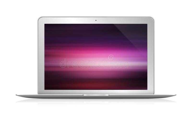 Lokalisierter moderner Laptop mit Wiedergabe der Vorderansicht 3d des Schattens lizenzfreie abbildung