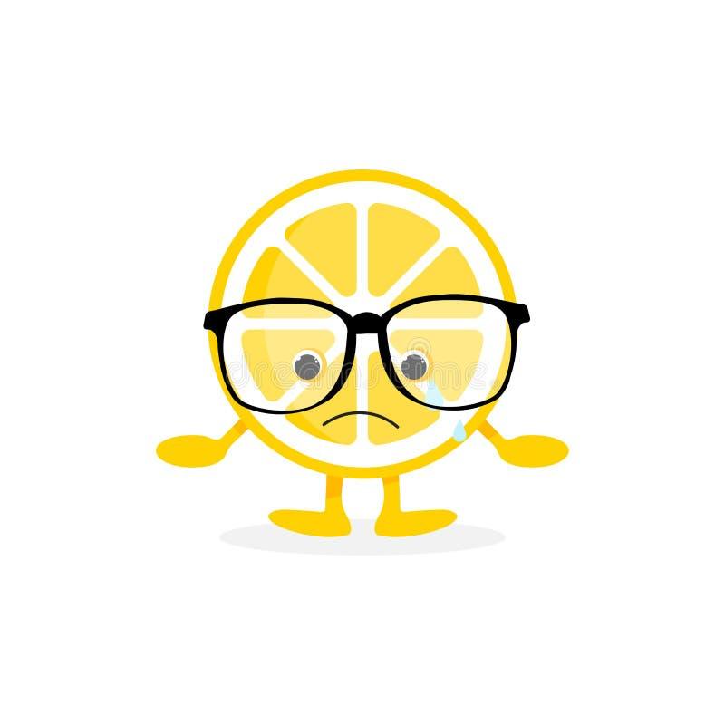Lokalisierter netter Lächelncharakter der Zitrone vektor abbildung