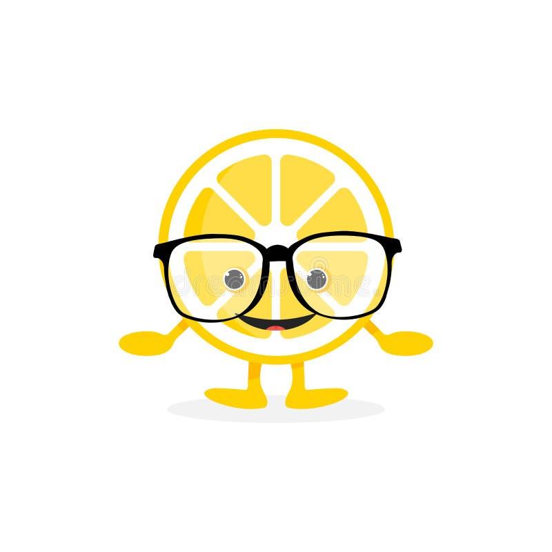 Lokalisierter netter Lächelncharakter der Zitrone lizenzfreie abbildung
