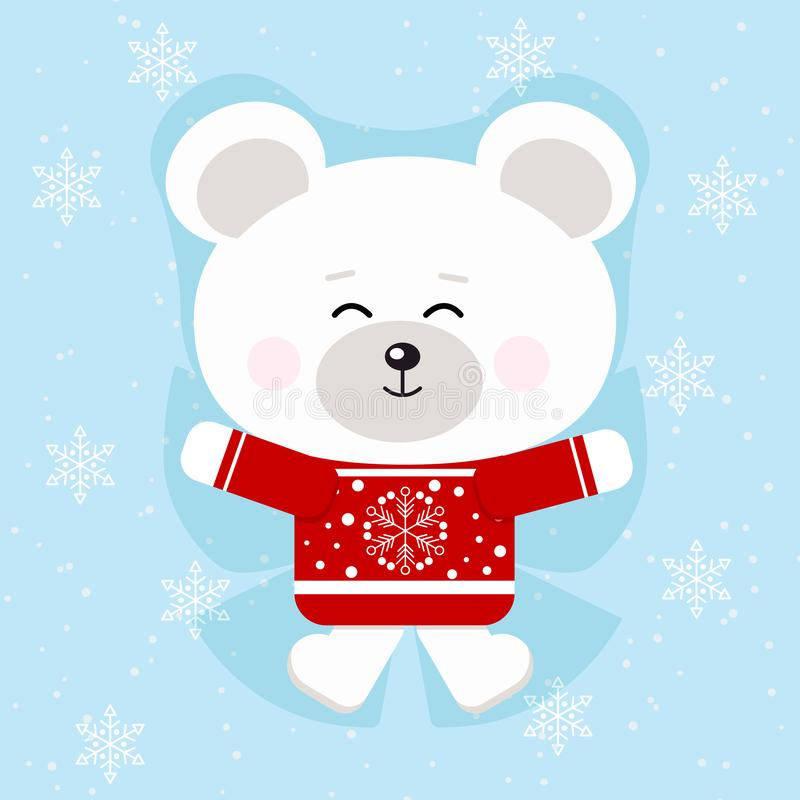 Lokalisierter netter Weihnachtseisbär in der roten Strickjacke, die einen Schneeengel im Schneehintergrund macht lizenzfreie abbildung